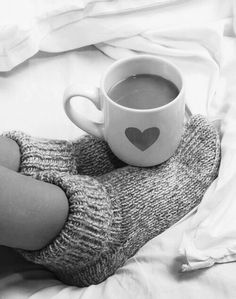 This may be my favorite pin ever.... black and white, cozy socks, in bed, coffee and a heart!