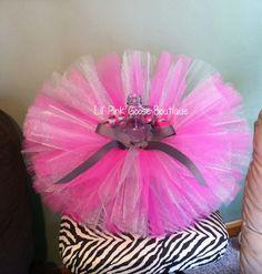 Gray and Pink Tutu Birthday Tutu 1st Birthday Tutu by LilPinkGoose, $24.95