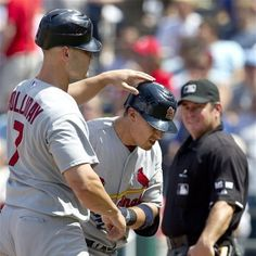 Holliday congratulates Craig after he hit a 2 run homer  6-23-12