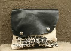 Clutch Handbag leather and canvas Ready to Ship by artlab