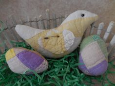Primitive Mini Chick & Egg Tucks Vintage Handsewn Quilts Easter Home Decor by auntiemeowsprims on Etsy