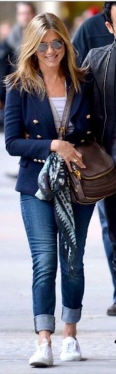 Love her style! Simple and classy!  Jacket - Balmain   Purse - Tom Ford   Jeans - Vince   Shoes – Superga