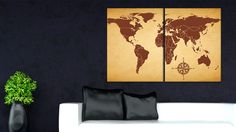 Silver world map large world canvas map travel map personalized map on canvas large canvas map canvas map print push pin map gumiabroncs Images