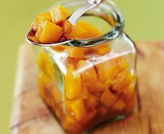 Easy pumpkin chutney great thanksgiving side or gift awesome topping to smoky sausage hotdogs at a fireworks, bonfire party, bang up the chilli and it goes great with jerk meats and caribbean cuisine too Christmas Chutney, Savory Pumpkin Recipes, Chutney Recipes, Bbc Good Food Recipes, Kimchi, Preserves, Carne, Food And Drink, Antipasto