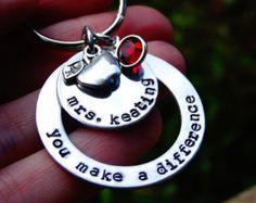 Gift for Teacher Keychain You make a difference Teacher Retirement Gift Teacher Appreciation Personalized Teacher gift