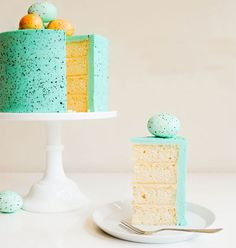 Bookmark this dessert recipe to make a Speckled Robin's Blue Easter Egg Cake.