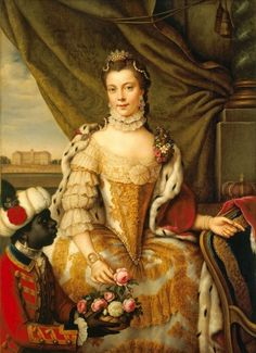 """""""Queen Charlotte when Princess Sophie Charlotte of Mecklenburg-Strelitz"""" by Johann Georg Ziesenis (1761) in the Royal Collection, UK"""