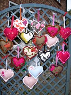 Upholstered hanging hearts