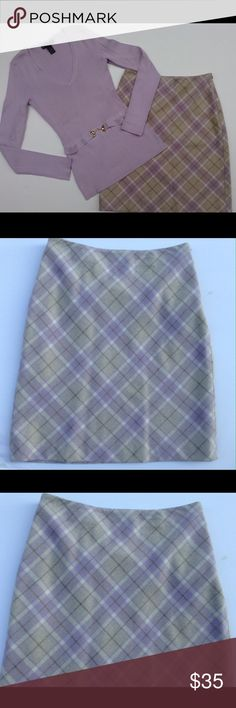 """Ann Taylor Petites Plaid Wool Skirt 0P & Sweater Ann Taylor Petites Plaid Wool Career Skirt 0P & INC Petites Silk blend sweater bundle. Sweater is size P. Color is lavender. Beautiful outfit in great condition.  Skirt is made of 68% wool/31% nylon. Approximate measurements : 13"""" across waist, 18"""" hips, length 20"""". Smoke free, pet free home Ann Taylor Skirts A-Line or Full"""