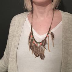 Feather & Peach Bead Necklace by WhiteBuffaloCoShop on Etsy