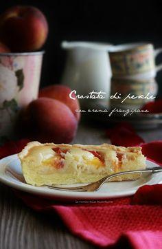 La ricetta della felicità: Crostata alle pesche senza glutine con crema frangipane senza burro e uova.