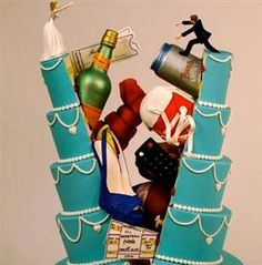 Split Cake! This cake from the Costa Mesa, Calif. shop Christopher Garrens illustrates the different personalities of a bride and groom (heels vs. sneakers; Champagne vs. beer). Wondering how the sides keep from toppling over? So are we…