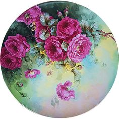 Magnificent Victorian J.P.L. France Limoges 1900's Hand Painted Vibrant 'Deep Red Roses' Vintage Floral Plaque by the Artist, 'Mr. Proteck'