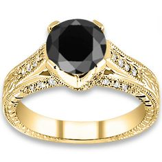 4.94 ctw 14k YG AAA Black, Accent I-J Color, VS - SI Clarity Diamonds Engagement Ring