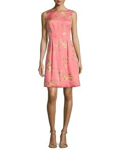 Betsy+Full-Skirt+Sheath+Dress,+Pink/Orange+by+Lela+Rose+at+Neiman+Marcus.