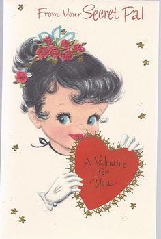 V50 Vintage 50's Unused Valentine Greeting Card for Secret Pal