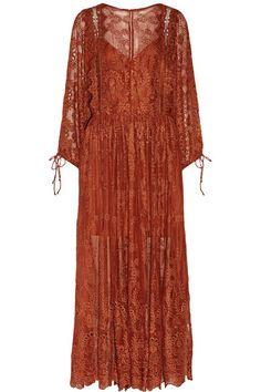 Burnt-orange broderie anglaise silk-georgette Lace-up back 100% silk; trim: 100% rayon Hand wash Designer color: Copper