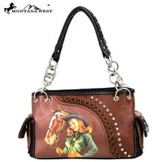 Montana West Vintage Cowgirl Collection Handbag with Chain Handles