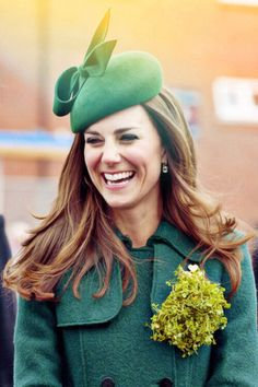 Catherine has a good laugh on St. Patrick's Day as she was visiting with the Irish Guards.