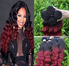 "Romantic Angels® Loose Wave Ombre Human Hair Wefts 3 Bundles Lot (20"" 22"" 24"") #1b/burgundy"