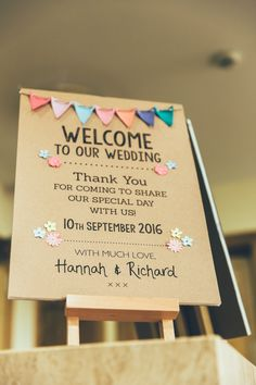 Beautiful Bunting Wedding Welcome Sign. Kraft paper with bunting and pastel colours, perfect for a vintage themed wedding. Part of the 'BEAUTIFUL BUNTING' collection by Paper Date. Photography: Francesca Hill Photography