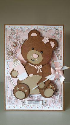 Punch Art, Baby Cards, Teddy Bear, Animals, Gifts, Manualidades, Bebe, Bears, Animales