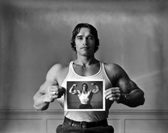 "Arnold Schwarzenegger by Elliott Erwitt, 1977  |""The advantage of taking pictures of the famous is that they get published."" Elliott Erwitt"