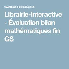 Librairie-Interactive - Évaluation bilan mathématiques fin GS