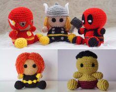 Pack 5 en 1: Flash, Thor, Deadpool, Viuda Negra, Hulk Amigurumi Superhéroe Marvel Sencillo Fácil Crochet Ganchillo Tutorial