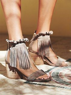 Brentwood Fringe Heel | Open-toe suede block heel sandals with a fringe ankle wrap and easy zip backs.  *By Matiko