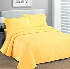 Fancy Collection 3pc Luxury Bedspread Coverlet Embossed Bed Cover Solid Yellow New Over Size 118″x106″ King/california King Looking bedroom remodel ideas - http://aluxurybed.com/product/fancy-collection-3pc-luxury-bedspread-coverlet-embossed-bed-cover-solid-yellow-new-over-size-118x106-kingcalifornia-king/