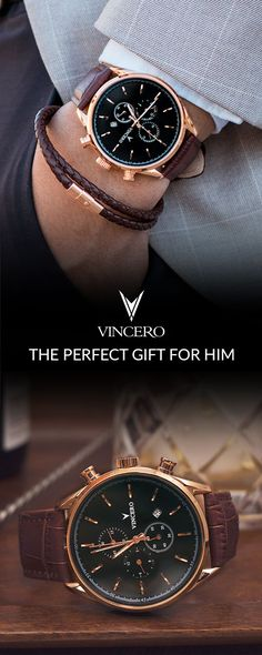 Bold, modern watches for men and women. Vincero timepieces come equipped with le… Bold, modern watches for men and women. Vincero timepieces come equipped with leather bands, sapphire crystal and affordable prices. The perfect gift for him or her. Modern Watches, Men's Watches, Luxury Watches, Cool Watches, Fashion Watches, Watches Online, Vintage Watches, Perfect Gift For Him, Gifts For Him