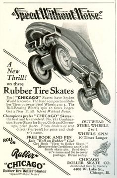 vintage roller skating photos | chicago rubber tire roller skates speed without noise chicago roller