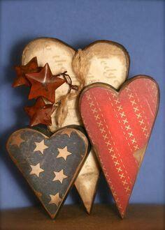 Americana Heart Decor Wooden Shelf Sitter Pledge of Allegiance.