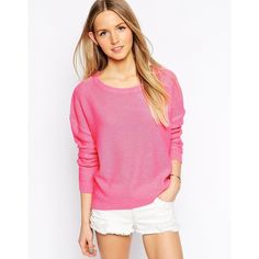 Brave Soul Round Neck Long Sleeve Fine Knit Jumper ($16) ❤ liked on Polyvore featuring tops, sweaters, sugar pink, jumpers sweaters, pink sweater, pink top, round neck sweater and long sleeve tops