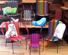 Check out these beautiful indoor/outdoor chairs. Attractive patio seating is hard to find so I was excited to see these. Imported from Africa and available from A Merch. Made out of a super durable nylon. Large - $169, Small - $99.