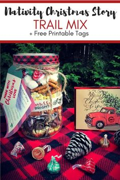 Are you looking for an inexpensive gift that helps you share the true meaning of Christmas? This Nativity Christmas Story Trail Mix is perfect as a mason jar gift or a treat to bring to your next Christmas get-together! True Meaning Of Christmas, A Christmas Story, Christmas Crafts, Christmas Ideas, Christmas Activities, Homemade Christmas, Christmas Traditions, Family Christmas, Christmas Recipes
