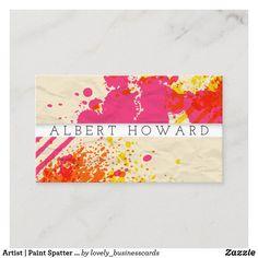 Artist | Paint Spatter | Modern Painter Creator Business Card