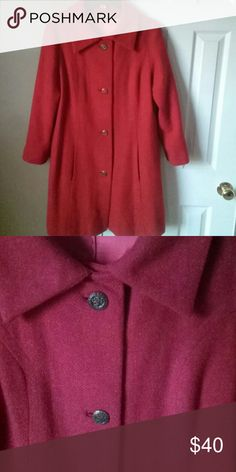 BLACK FRIDAY SALE Vintage Wool Coat PRICE SLASHED 50% Vintage single Breasted rust wool coat with brassy buttons.   Excellent vintage condition with no wearing or rips/tears. Fits like a 10/12 Jackets & Coats