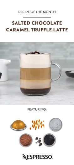 Unwrap this sweet seasonal latte at home in just a few delicious steps.  Nespresso Salted Chocolate Caramel Truffle Latte  -Add 2 tbsp caramel syrup to mug  -Add a sprinkle of salt and ½ tsp cocoa  -Froth 4oz milk and add to mug  -Stir  -Brew 2 espressos  -Top with chocolate sauce  More great Nespresso recipes are one click away.