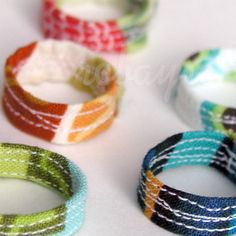 robayre - quilted rings (great way to upcycle fabric scraps!)
