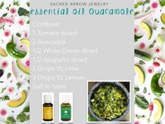 Homemade Essential Oil Guacamole LOVE this recipe!  Lemon & Lime are the bomb! www.fb.com/essentialliving180  #YoungLivingFoodies