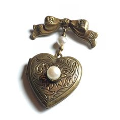 Vintage Pididdly Links Locket, Heart Locket with a bow and pearl accents, Pididdly Links Brooch by VintageFlowerTop on Etsy