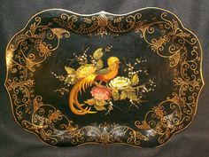 Large Vintage Chippendale Toleware Tray/Tabletop with Handpainted Bird & Flowers