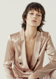 Double-breasted metallic blazer