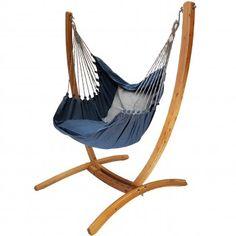 Hangstoel Denim met houten standaard