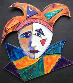 Harlequin by Robyn Henchel. I made a series of these from wood that were inspired by the costume and characters I saw in a Cirque Du Soleil performance.