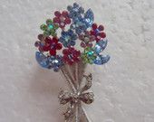 Colorful Floral Bouquet Rhinestones Brooch / Gift under 15