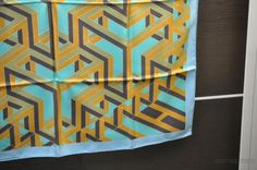 Authentic-HERMES-Scarf-Silk-034-CARRE-CUBE-034-Blue-23414