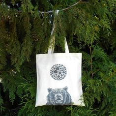 Molecular Bear Tote Bag  Grizzly Bear  by naturesmyfriend on Etsy